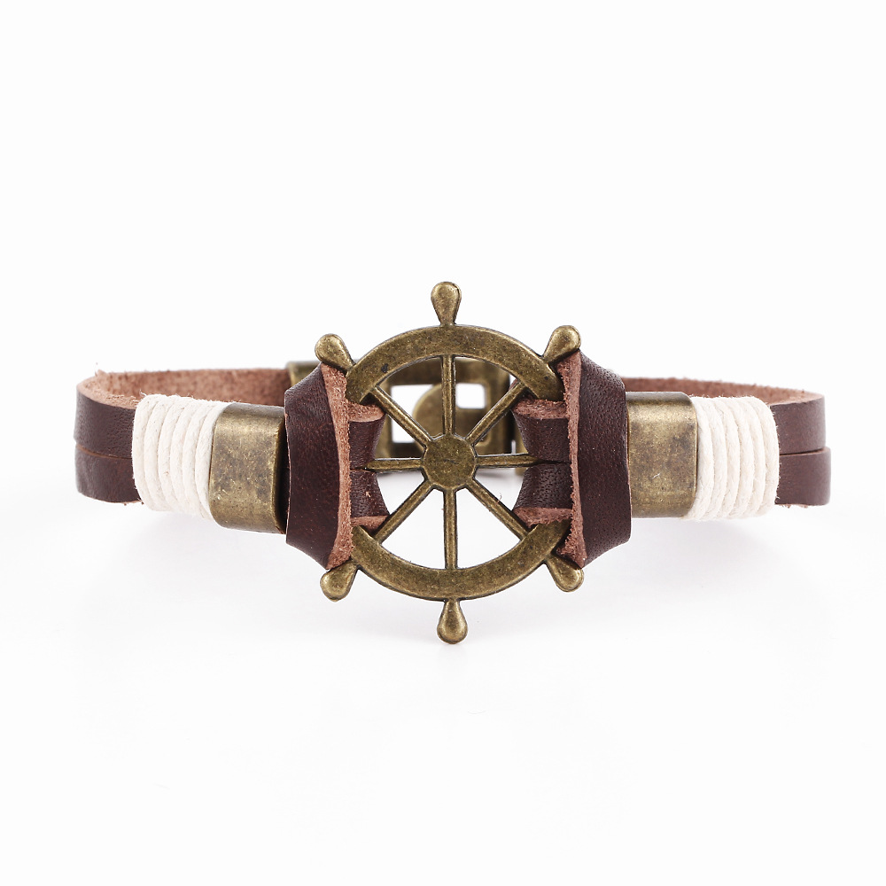 Daisies Men Punk Style Jewelry Pirate Style Bronze Leather Vintage Rudder Bracelets Cuff Braided Bracelet & Bangles Gifts