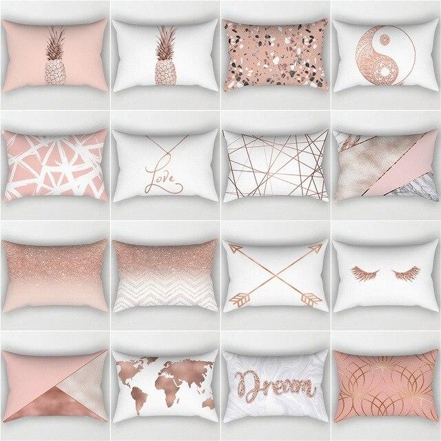 30x50 cm Fodere per Cuscini 5s In Oro Rosa Rosa Geometrica Posteriore Fodere per
