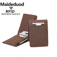 Maideduod New Men  Wallet Minimalist Wallets Genuine Leather Slim RFID Blocking Card Mens Holder Free Shipping