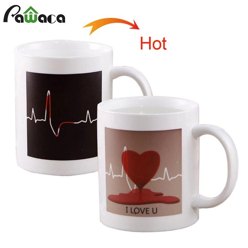 Magic Heat Sensitive Mug Color Changing Heat Coffee Cup Ceramic Heart Unicorn Temperature Milk Coffee Mug Tea Cup Creative Gift