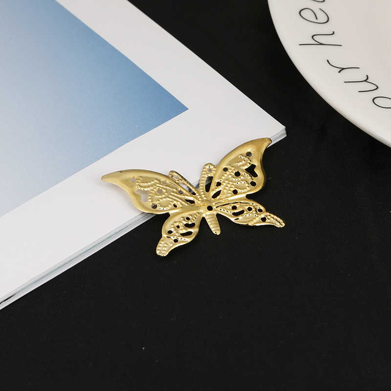 10pcs 42*26mm Gold/Bronze/Rhodium Plated Butterfly Flower Filigree Wraps Connectors Metal Craft Gift Decoration DIY Jewelry Maki