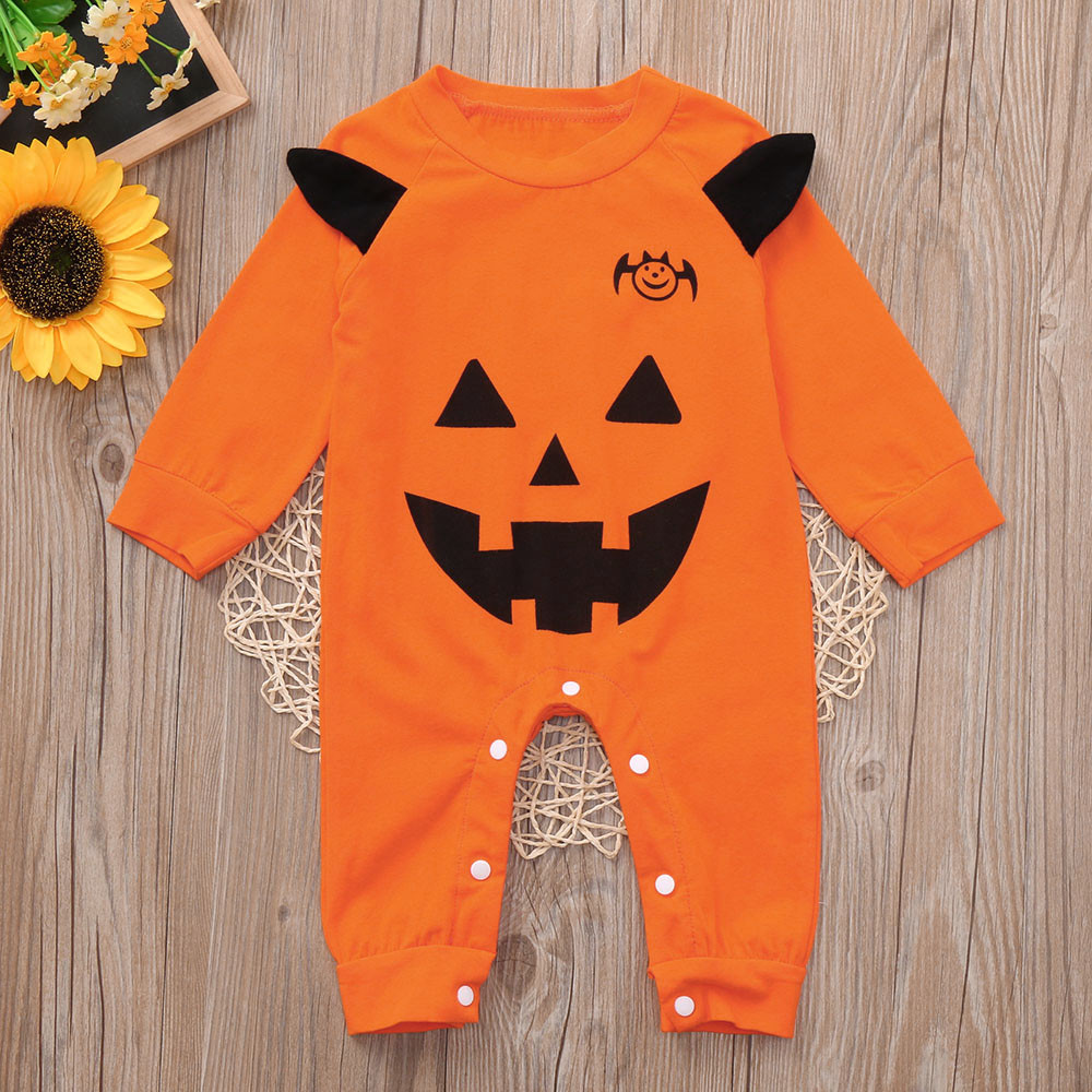 Newborn Infant Baby Girls Boys Fashion Cotton Cartoon Long Sleeve Print   Romper   Jumpsuit Halloween Outfits
