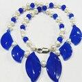 Envío Libre Blanco de La Perla en forma de Hojas de Jade Azul Jaspe Encantos de La Cadena Collar Para Las Mujeres de Alto Grado de Joyería de La Cadena 18 pulgadas MY5168