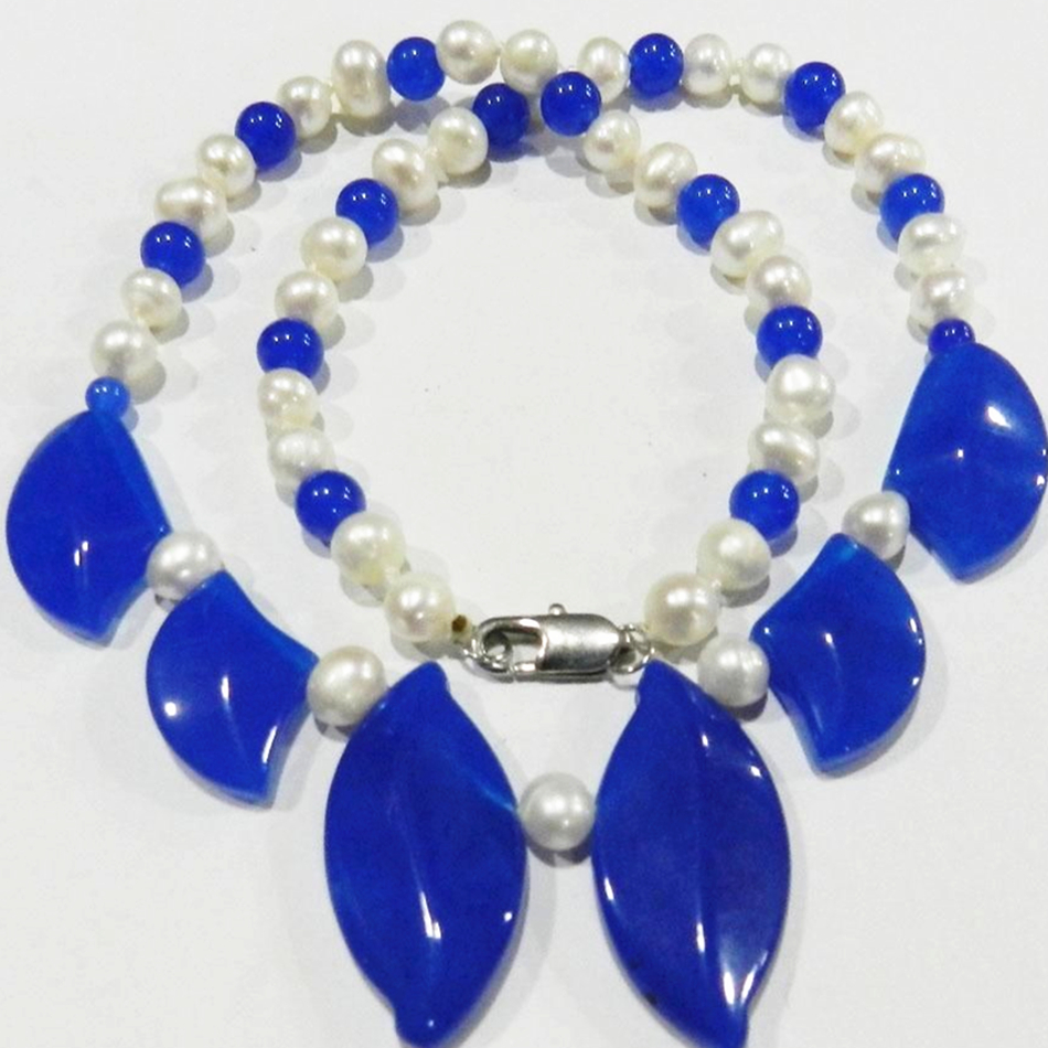Free Shipping White Pearl Leaves shaped Blue Jade Jasper Chain Charms Necklace For Women High Grade