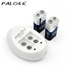 פאלו האיחוד האירופי חכם סוללה מטען עבור 6F22 9 V NiCd NiMh ליתיום נטענת סוללות + 2 pcs Ni Mh 9 V bateria נטענת סוללות