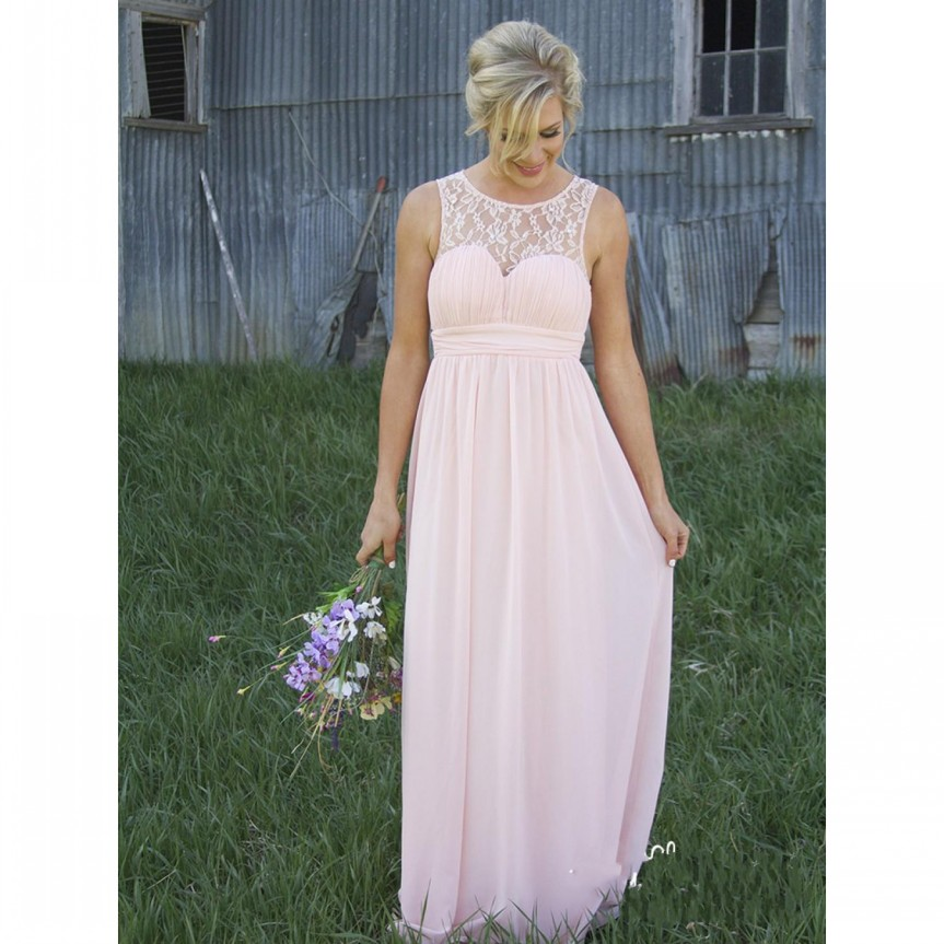 2017 Spring Light Pink Lace Bridesmaid Dresses Long