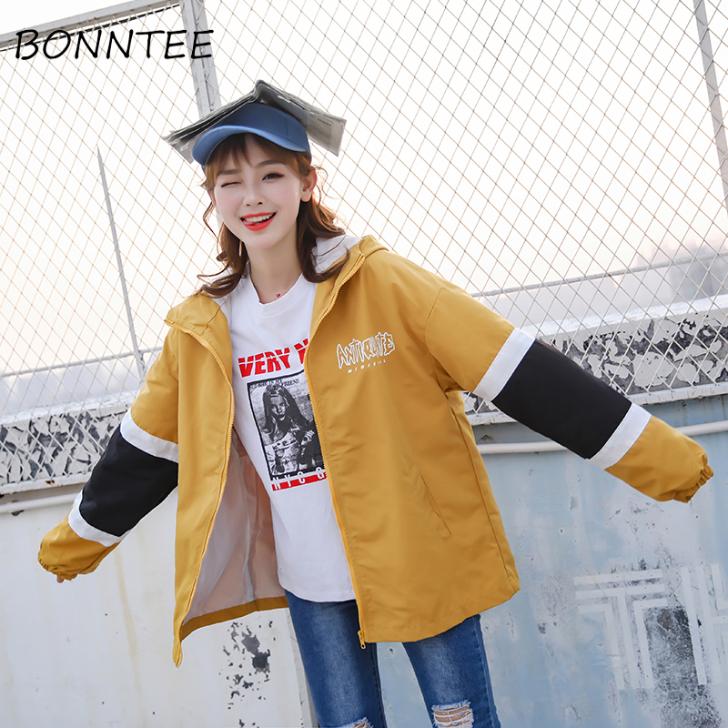 Women New   Jackets   Loose BF Zipper Hooded Hip-hop Patchwork Fashion   Basic     Jackets   Womens Letter Printed Casual Outwear All-match
