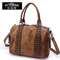 Vintage Handmade Shoulder Bag First Layer Of Cowhide Rivets Cross Body Handbag For BOSS Bag