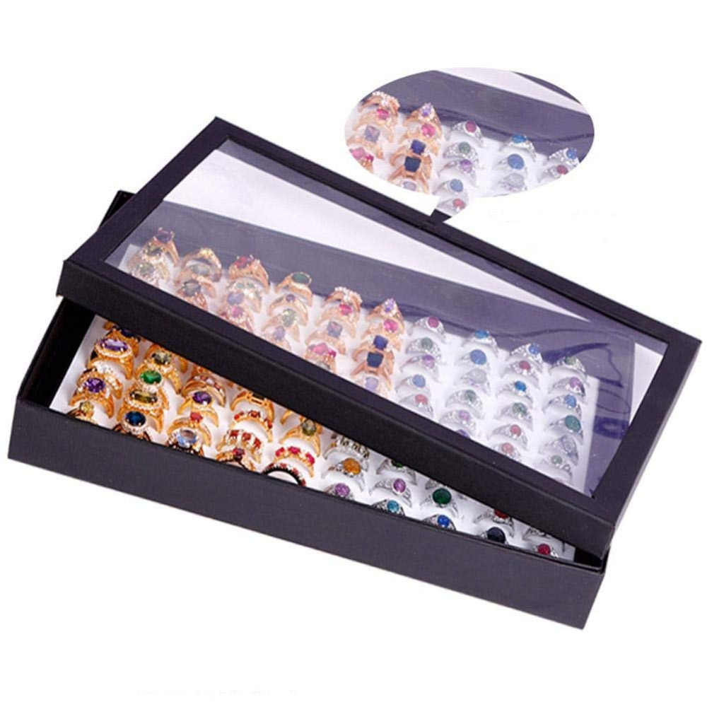 100 Slots Ring Storage Ear Display Box Jewelry Organizer Holder Show Case