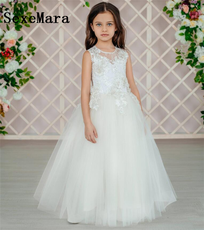 купить Cute White Ivory Lace Flower Girl Dresses for Wedding O Neck Lace Applique Kids Girls Pageant Dresses Birthday Christmas Gown онлайн