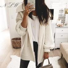 NLW Pocket Knitted Women Cardigans 2019 White Long Button Sweater Turn Down Collar Oversize Retro Sleeve Cardigan