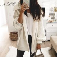 NLW Pocket Knitted Women Cardigans 2019 White Long Button Sweater Cardigans Turn Down Collar Oversize Retro Long Sleeve Cardigan
