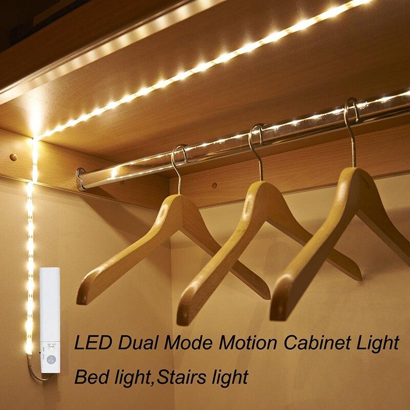 Amagle Led Bewegungsmelder Nachtlicht Batterie Betrieben Led Schrank Beleuchtung 1 Mt Led-streifen Bett Treppe Lichter Luminaria Nacht lampen