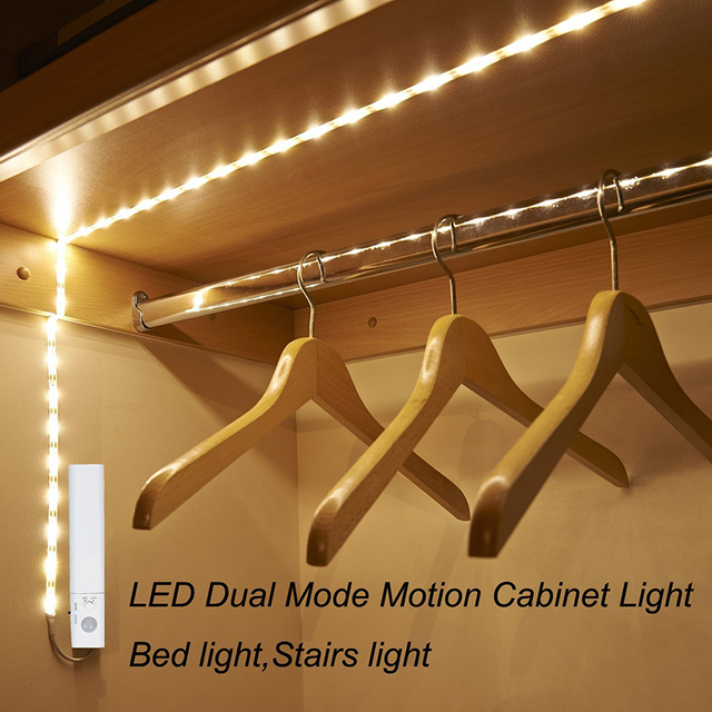 Amagle Led Motion Sensor Night Light Battery Operated Closet Lighting 1m Strip Bed Stair