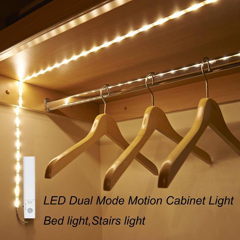 Amagle Led Motion Sensor Night Light Battery Operated Led Closet Lighting 1M LED Strip Bed Stair Lights Luminaria Night Lamps