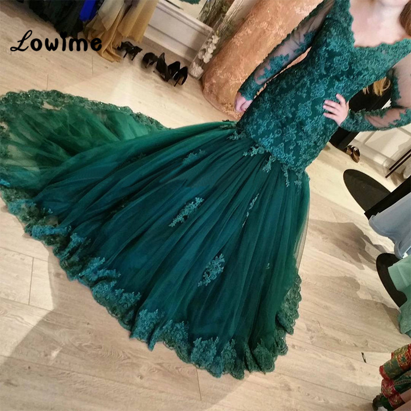 Muslim Lace Long Sleeve Emerald Green Mermaid Formal Evening Party Dress Turkish Arabic Moroccan Kaftan Evening Gowns Dresses