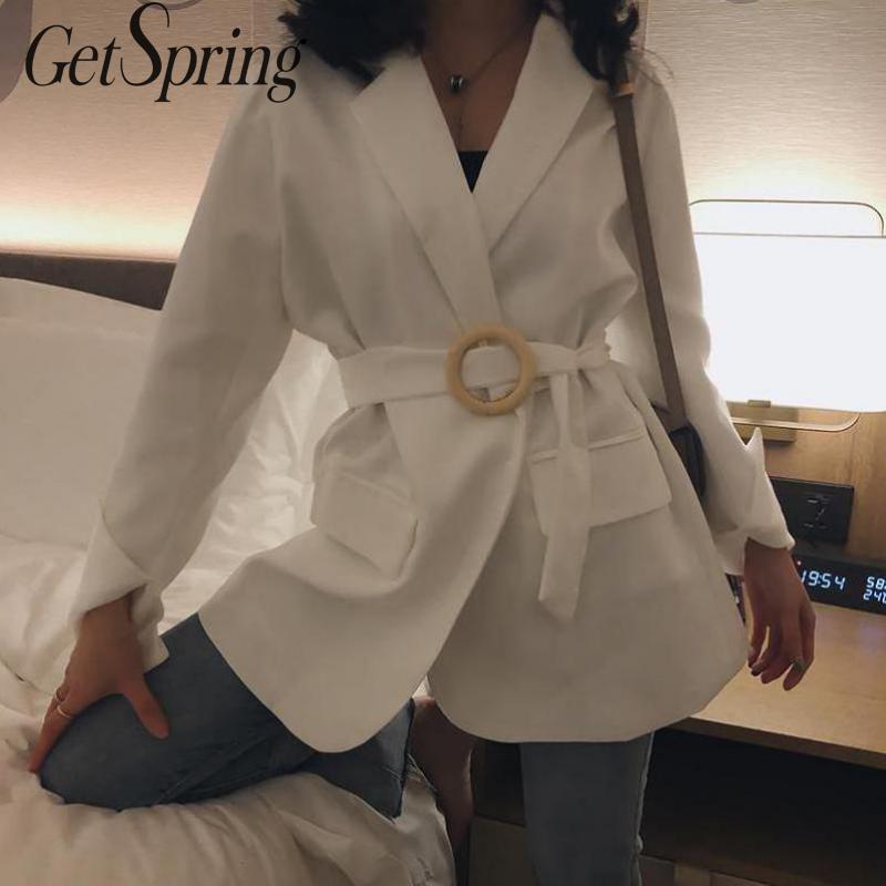 GETSPRING Women Coat Women Suit Coats Black White Bandage Blazers Jackets Black White Loose Leisure Vintage Woman Blazer 2019(China)