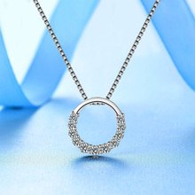 925 silver Crystal Necklaces & Pendant Statement Necklace round &square simple chainwomen wedding gnzapfga aslajjsa