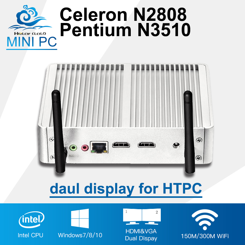 2*HDMI Display Celeron N2808 Intel Mini PC Pentium N3510 Quad Core Windows 10 Mini Computer HD HTPC 300M Wifi TV Box Desktop thin client mini itx computer intel celeron n3150 14nm quad core dual hdmi vga 1 rs232 4 usb3 0 300m wifi window 10 mini pc