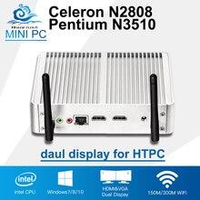 2 * HDMI Дисплей Celeron N2808 Intel Мини-ПК Pentium N3510 4 ядра Окна 10 мини-компьютер HD HTPC 300 м Wi-Fi ТВ ящик стола