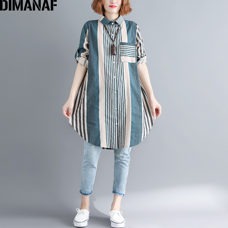 DIMANAF Women   Blouse     Shirt   Plus Size Cotton Female Clothing Loose Print Striped Green Long Sleeve Cardigan With Belt Autumn 2018