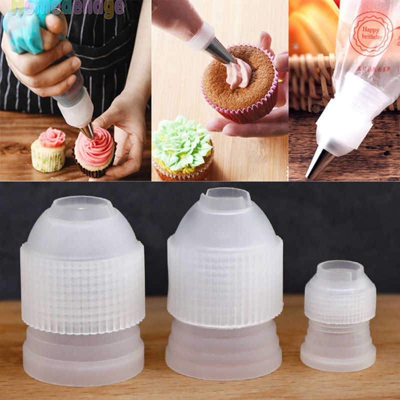 3in1 Lot Plastic Decorating Mouth Converter Adapter Pastry Tips Connector Cake Decorating Tools Baking Accessories