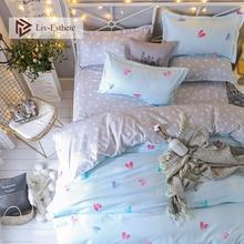 Liv-Esthete 2019 Love Light Blue Bedding Set Duvet Cover Single Double Queen King Bed Linen Flat Sheet Pillowcase For Adult