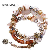 WNGMNGL 2018 New Fashion Boho Multilayer Beads Charm Bracelets for Women Vintage Resin Stone Bangles Pulseras Ethnic Jewelry