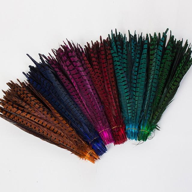 Woosee 100 unids Teñido pluma de Faisán Naturales Plumas Colores ...
