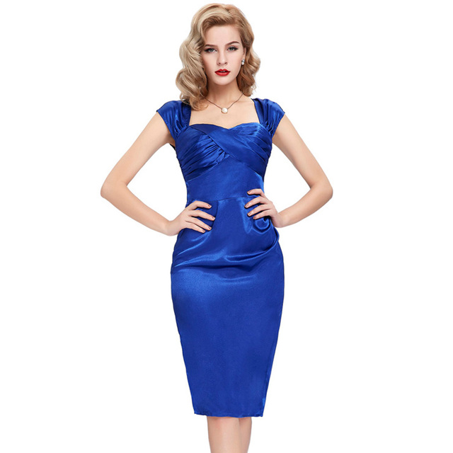 Belle Poque Sexy Women 50s Retro Pencil Robe Sleeveless Backless Satin  Vintage Vestidos Sheath Party Sweetheart Neck Dresses 79c4483807e4