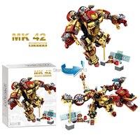 Hot Sembo Block Marvel Super Heroes Avenger Iron Man Figure MK42 Deformable Dragon Robot Building Blocks