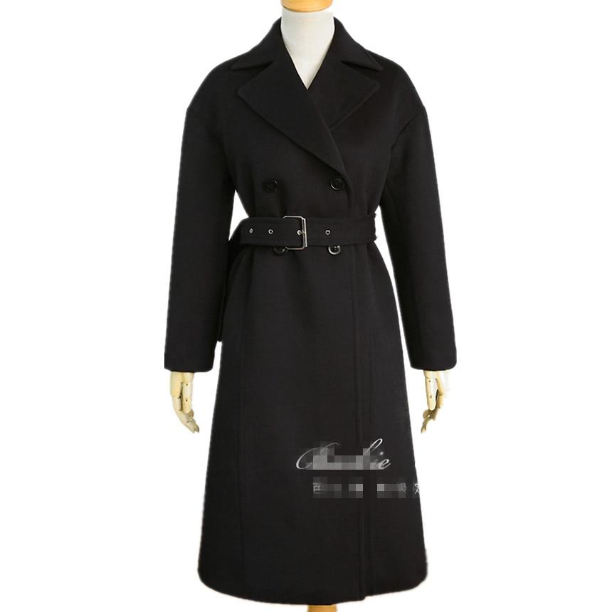 down Double Office Veste Mince Black En Breasted Collar Hiver Mode Femmes Turn Long Laine Pardessus Manteau Manteaux De Lady Pgwzaq6xH