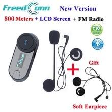 FreedConn новая версия TCOM-SC Bluetooth мотоцикл переговорные гарнитуры шлем домофон ЖК дисплей экран с FM радио + мягкий динамик