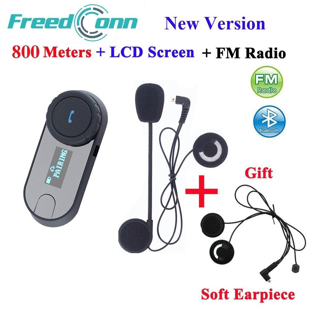 TCOM-SC FreedConn Nova Versão Do Bluetooth Motocicleta Capacete Interfone Headset Intercom LCD Tela com Rádio FM + Fone de Ouvido Macio