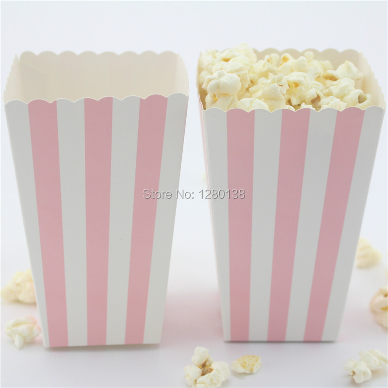 36pcs Pink Striped Popcorn Boxes Birthday Party Baby Shower Decor Candy Food Bags
