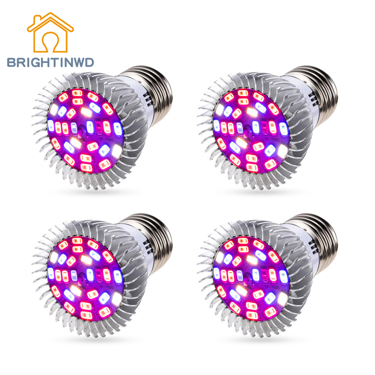 BRIGHTINWD <font><b>LED</b></font> Plant Light E27 Indoor Seedling Plant <font><b>Growing</b></font> Fill Light Full Spectrum UV Flower Plant Spotlight