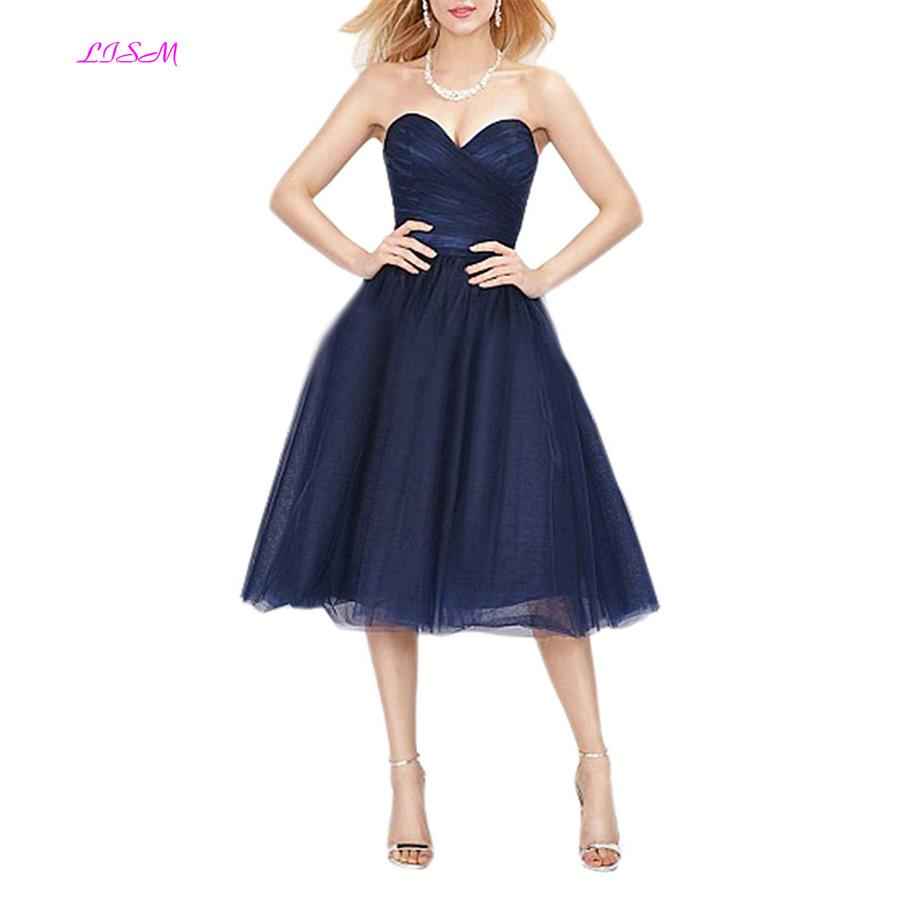 Sweetheart Ruffled Knee-Length Cocktail Dress Short Sleeveless Tulle Prom Gowns Special Occasion Dresses vestidos de festa curto