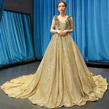 Luxury Gold ชุดราตรีชุดราตรียาว A Line มุสลิมชุดราตรีเซ็กซี่ชุดผู้หญิง Elegant Ball ชุด YM20257