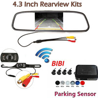 4 Sensors Car Parking System Kit & 4.3'' TFT Car Security Mirror Monitor for Car License Frame Plate Wireless Rear View Camera