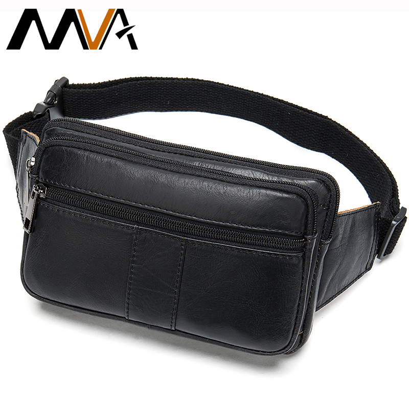 Cow Leather Men Waist Bag Casual Small Fanny Pack Male Waist Pack For Phone Credit Cards Travel Chest Bag For Men Leather   8977