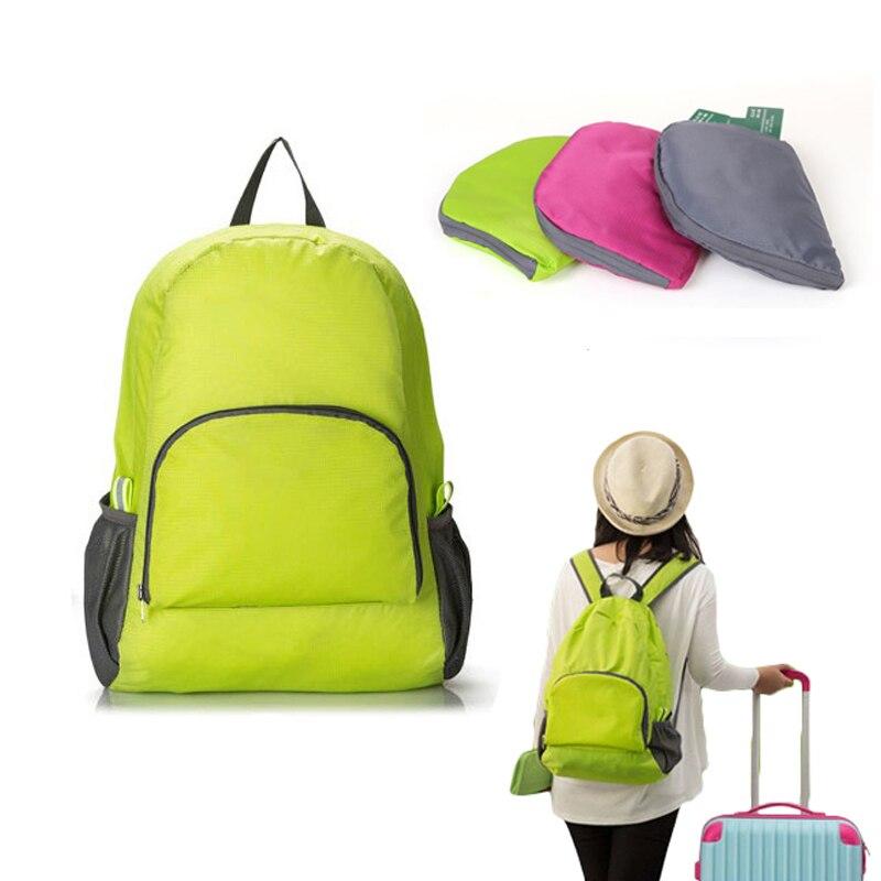 Fashion Travel Backpacks Zipper Soild Nylon Backpack Traveling Women Men Shoulder Bags Folding Bag
