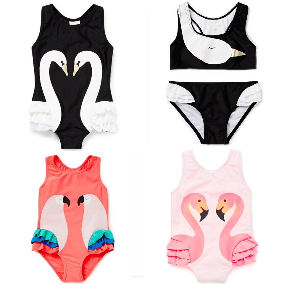 st.rafina 2018 Summer Bobo Choses Animal Cartoon Baby Girls one-piece swimwear Swan Girl Swimsuit kids bathing suits for girl