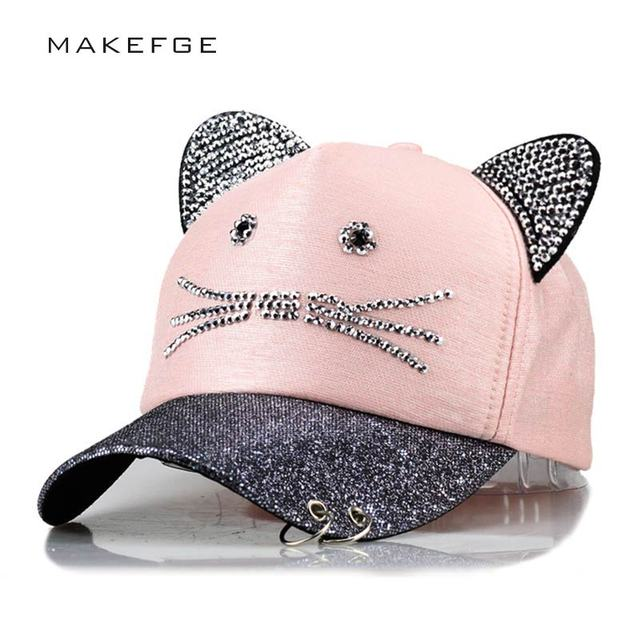 abc67e87af4 meow Women s Summer fall Pink hat Cat ears Cat Baseball cap with rings and  lace Diamond cute girl hat
