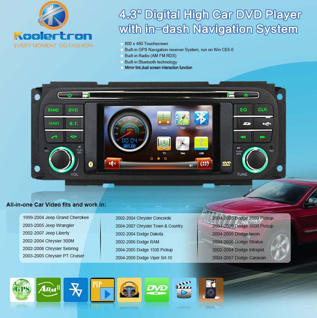 Free Map Autoradio DVD GPS Navigation Stereo+BT+FM for 99 04 Jeep ...