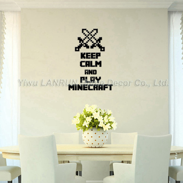 2017 new minecraft 3d wall sticker for kids room for 3d room decoration games
