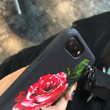 Roses Flowers Relief TPU With a hand rope Phone Case for iphone 6 6S 6plus 7 8 7plus X fashion Couple Phone Case