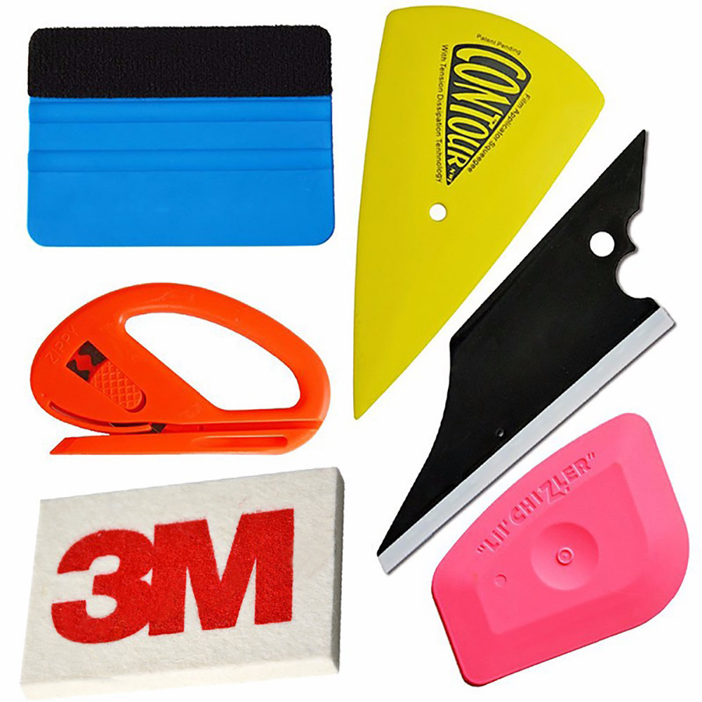 EHDIS 6pcs Car Film Wrap Vinyl Tool Kit 3M Felt Squeegee Snitty Cutter 3M Wool Squeegee Vinyl Stickers Install Tools Kit AT010 diy small car cleaning sets film sticking tool squeegees scrapers sunvisor film sticking tool
