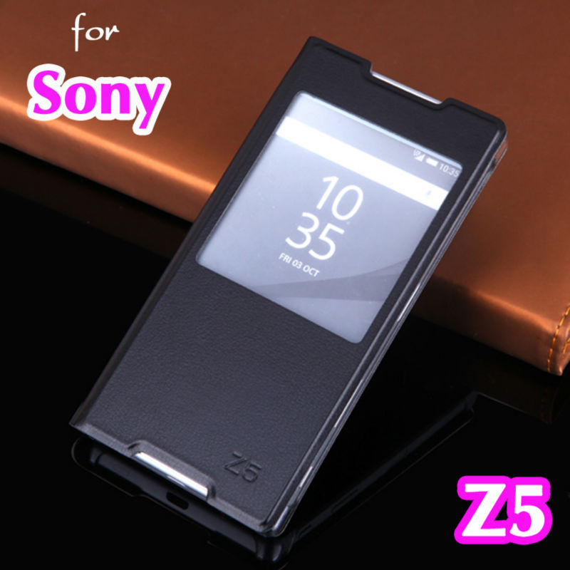 Flip Cover Leather <font><b>Case</b></font> For <font><b>Sony</b></font> <font><b>Xperia</b></font> <font><b>Z5</b></font> Z 5 SonyZ5 E6603 <font><b>E6653</b></font> Dual E6683 E6633 5.2 Inch <font><b>Cases</b></font> Clear View Window Phone <font><b>Case</b></font> image