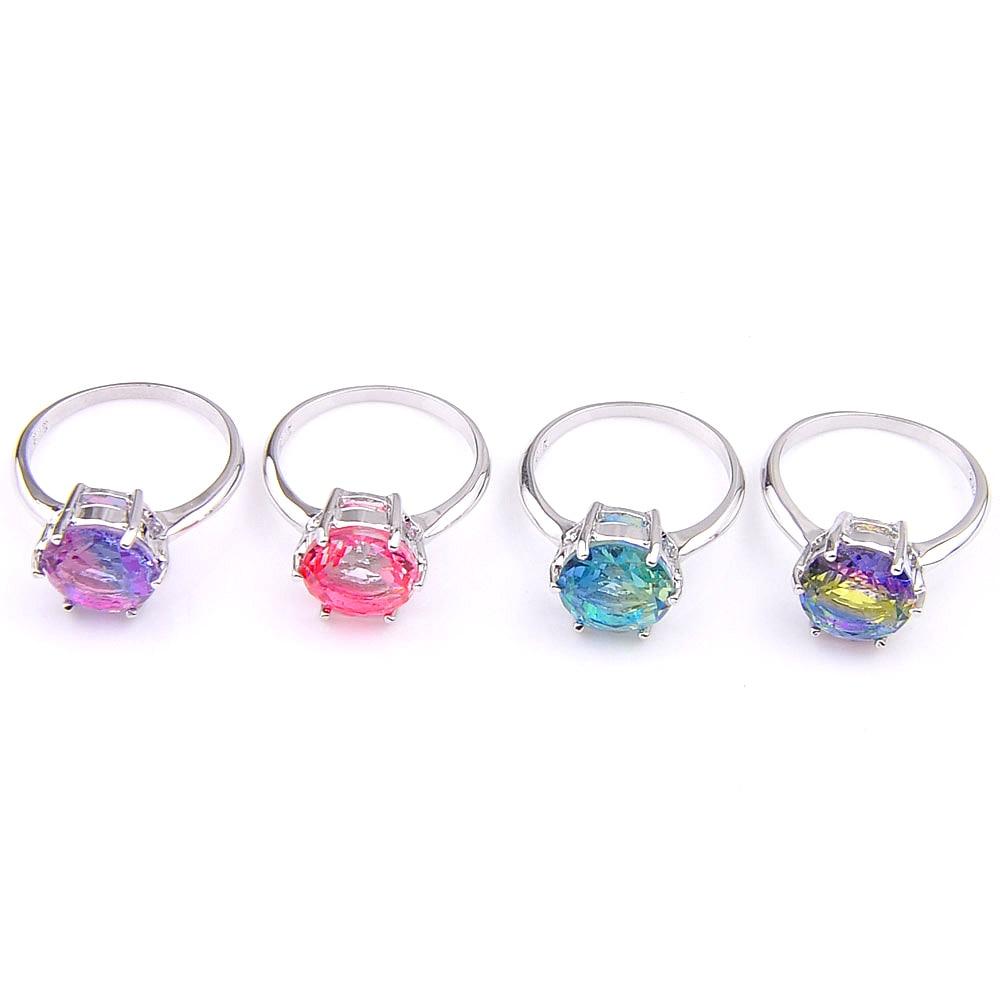 Top vente vacances bleu arrondi bi-couleur Tourmaline Bracelet en Argent Bague Taille 7 8