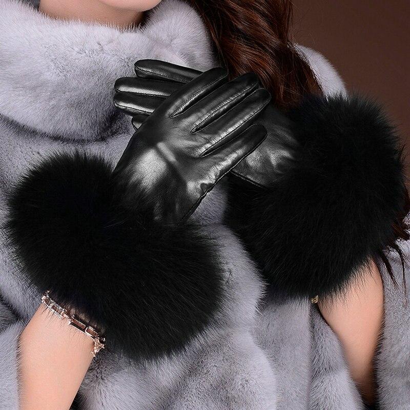 Femmes gants en cuir réel fourrure de renard gants en cuir véritable pour adulte noir gants femmes hiver en cuir mitaines gants pour femmes - 2